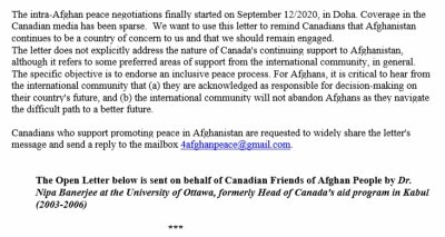 A Group of Canadians with Past Professional Involvement in Afghanistan Endorsed an Open Letter Calling for End of Violence in Afghanistan and Expressing Support for the Intra-Afghan Peace Negotiations